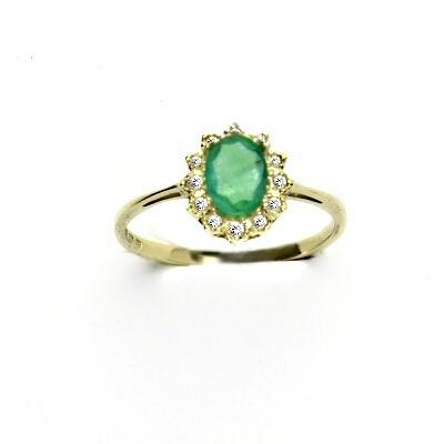114aa466e ČIŠTÍN s.r.o Zlatý prsten s diamanty, přírodní smaragd, žluté zlato, VR 247  13684