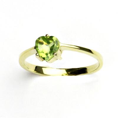6b17ce8b3 Zlatý prsten,žluté zlato, přírodní olivín, prstýnek ze zlata, T 1362 ...