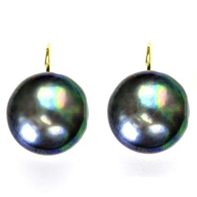 95a430ace ČIŠTÍN s.r.o Zlaté náušnice, černá přírodní říční perla, žluté zlato, NK  1298 10438
