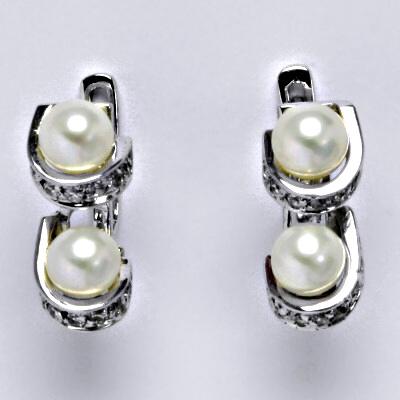aa98f56b8 ČIŠTÍN s.r.o Náušnice z bílého zlata, přírodní říční perla bílá, syntetický  zirkon, zapínání